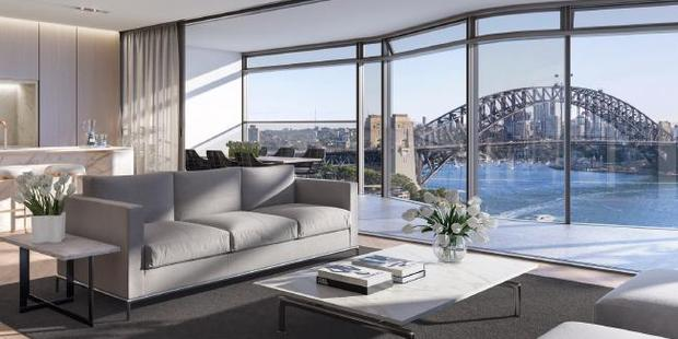 View from the living room in one of the Opera Residences apartment. Photo / Supplied