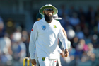 Hashim Amla was the target of an extremely offensive message at Bellerive Oval in Hobart, with the fan who created it banned from attending cricket matches for three years. Photo / Photosport