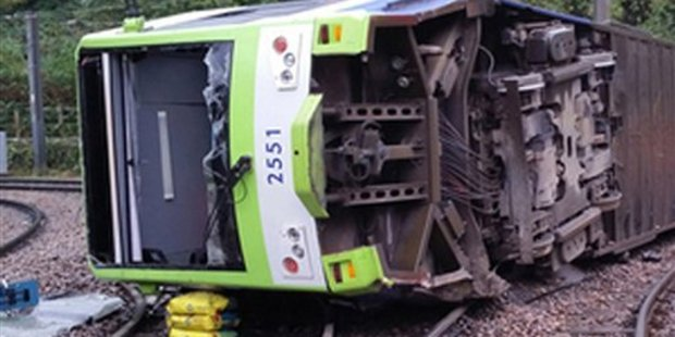 A photo issued by the Rail Accident Investigation Branch of the tram, which was said to be travelling at almost four times the speed limit when it derailed. Photo / AP