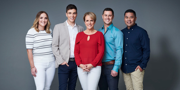 TVNZ's new-look Breakfast team of Brodie Kane, Jack Tame, Hilary Barry, Sam Wallace and Daniel Faitaua.