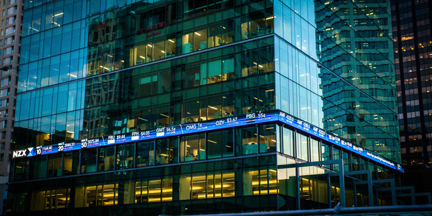 The NZX ticker on the building downtown. Photo / File