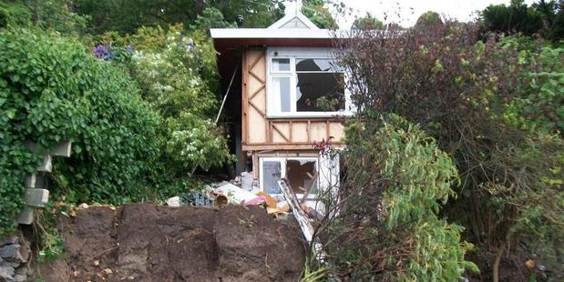Doug Allington's Redcliffs house after the February 2011 Christchurch earthquake. Photo / Supplied