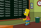 Bart spells out the sentiments of the Simpsons creators over their Trump prediction. Photo / Twitter