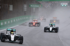 Mercedes driver Lewis Hamilton leads Nico Rosberg at the Brazilian F1 Grand Prix. Photo / AP