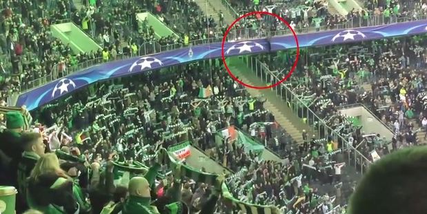Loading A Celtic fan suffered a collapsed lung and a broken rib after horrifically falling from a stadium's top-tier during a Champions League match. Photo / YouTube