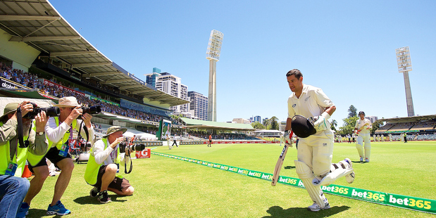 Ross Taylor departs after his amazing 290 in Perth a year ago. Photo / Daniel Carson Photosport