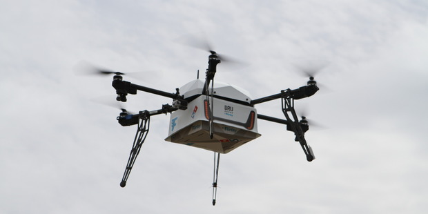 DRU Drone by Flirtey making the first Domino's delivery. Photo/supplied