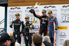 Craig Baird celebrates on the podium at the Highlands 101. Photo / Matthew Hansen