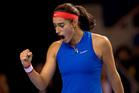 France's Caroline Garcia reacts to defeating the Czech Republic's Karolina Pliskova. Photo / AP