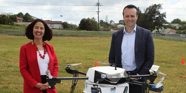 Flirtey director NZ Samantha Sharif and Domino's NZ GM Scott Bush. Photo/supplied