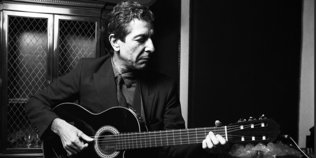 Leonard Cohen, Canadian poet and singer-songwriter, plays some of his songs in a small recording studio, lower Manhattan, New York, mid 1980s. Photo / Getty