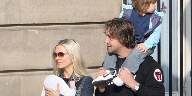 Russell Crowe with his ex wife Danielle Spencer and son Charles and baby son Tenyson. Photo / Getty