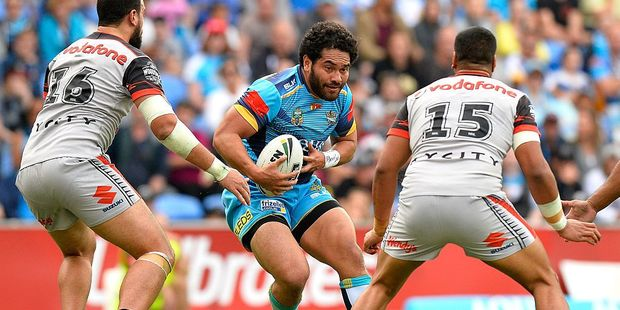 Konrad Hurrell of the Titans in action during the round 22 NRL match between the Gold Coast Titans and the New Zealand Warriors. Photo / Getty