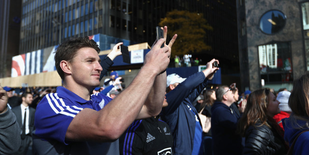 Loading Beauden Barrett watches the Chicago Cubs victory parade. Photo / Getty