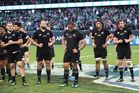 Dejected New Zealand players look on following their team's 40-29 defeat against Ireland. Photo / Getty Images