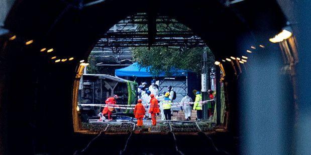 The tram derailed near Sandilands Tram stop in Croydon, London, on November 9. Photo / Getty