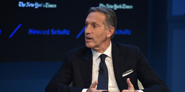 Chairman and CEO of Starbucks Howard Schultz speak at The New York Times DealBook Conference at Jazz at Lincoln Center. Photo / Getty