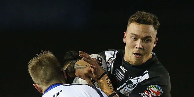 James Fisher-Harris of New Zealand is tackled by Brett Phillips of Scotland during their Four Nations match. Photo / Getty