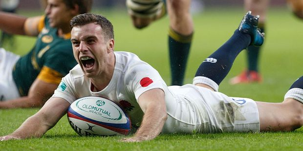 George Ford jubilant while scoring a try for England during the Old Mutual Wealth Series match between England and South Africa at Twickenham Stadium. Photo / Getty