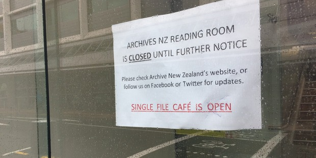 The notice advising the Archives NZ building is closed. Photo / Supplied