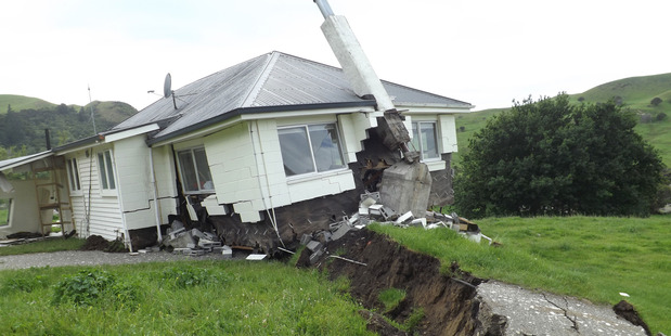 Loading At Bluff Station a house sitting on the Kekerengu Fault is spectacularly moved off its foundations during Monday's magnitude 7.8 earthquake.  Photo / Supplied