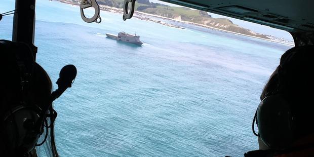 Loading Simon Bridges and John Key look at the HMNZS Canterbury at Kaikoura. Photo / Claire Trevett