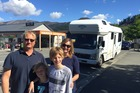 Australian tourists, Nicholas Matthews, sons Noah, 8, and Finn, 12, and wife Bronwen rode out their first ever quakes in Hanmer Springs. Photo / Kurt Bayer