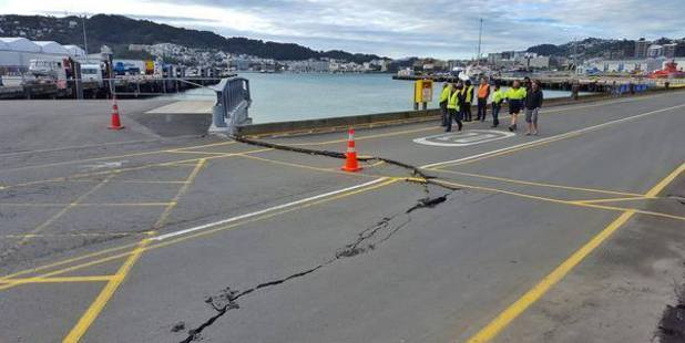 A large crack in the wharf near the area where the staff member said the were told to park. Photo / supplied