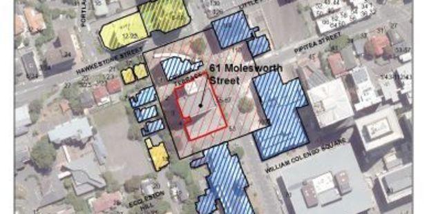 The current cordon around 61 Molesworth St. Photo / Wellington City Council