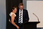 Outgoing president Steven Boock congratulates Debbie Hockley. Photo / photosport.nz