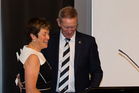 Outgoing president Steven Boock and Debbie Hockley. Photo / photosport.nz