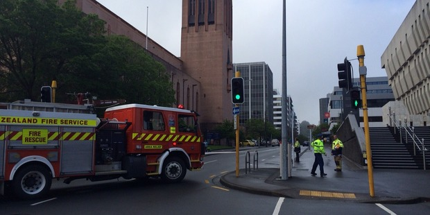 The building is on Molesworth Street, and the road has been closed. Photo / NZME