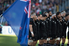 All Blacks during the national anthem during the test match between the New Zealand All Blacks and Italy, held at Stadio Olimpico, Rome, Italy. Photo / Brett Phibbs.