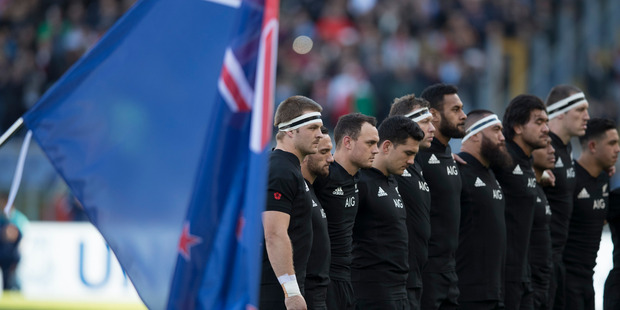 Loading All Blacks during the national anthem during the test match between the New Zealand All Blacks and Italy, held at Stadio Olimpico, Rome, Italy. Photo / Brett Phibbs.