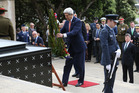 US Secretary of State John Kerry lays a wreath at the Tomb of the Unkown Warrior during his visit to the Pukeahu National War Memorial Park in Wellington. Picture / NZ Herald