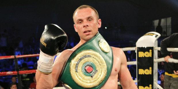 CHAMPION: Jonathan Taylor celebrates winning the IBO Oceania and NZPA super middleweight titles in Auckland on Saturday night. PHOTO: Supplied