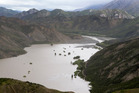 A huge dam formed by a landslide as a result of the 7.5 earthquake, on the Clarence River north of Kaikoura. Photo / Mark Mitchell