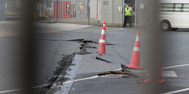 Loading Damage caused by this morning's 7.5 earthquake at CentrePort in Wellington. Photo / Mark Mitchell