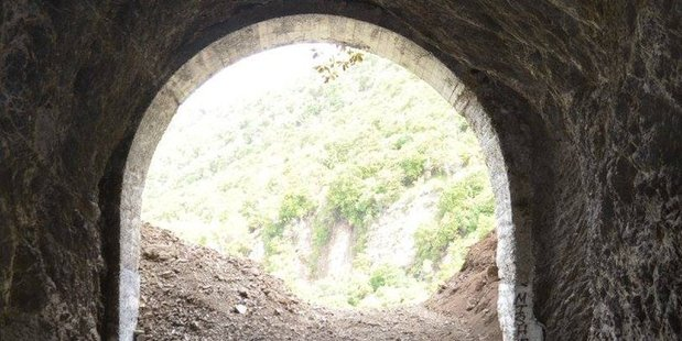 A tunnel near State Highway One near Kaikoura blocked by a rockfall. Photo / Anna Redmond