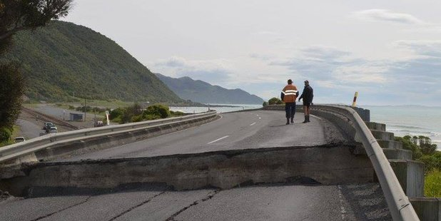 The damage caused by today's earthquakes on State Highway One near Kaikoura. Photo / Anna Redmond