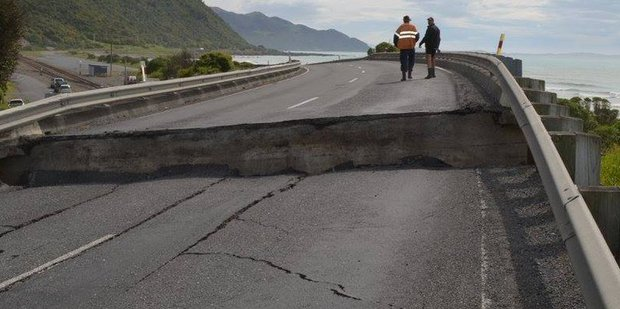 State Highway 1 shows how the land rose during the Kaikoura Earthquake on Monday. Photo/Lou Gordon Green