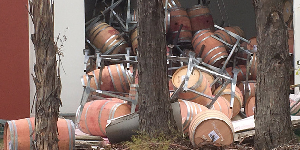 Damage at a Blenheim winery after Monday's magnitude 7.8 earthquake.   Photo / Angus Barnes, Twitter