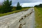 Damage to State Highway 70 to Waiau following a 7.5M earthquake that struck North Canterbury. Photo / Supplied