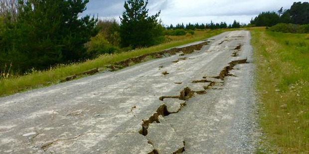 Loading Damage to State Highway 70 to Waiau following a 7.5M earthquake that struck North Canterbury. Photo / Supplied