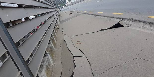 Damage to the ground outside Westpac Stadium on the Wellington seafront following a 7.5 M earthquake. Photo / Craig Doolan