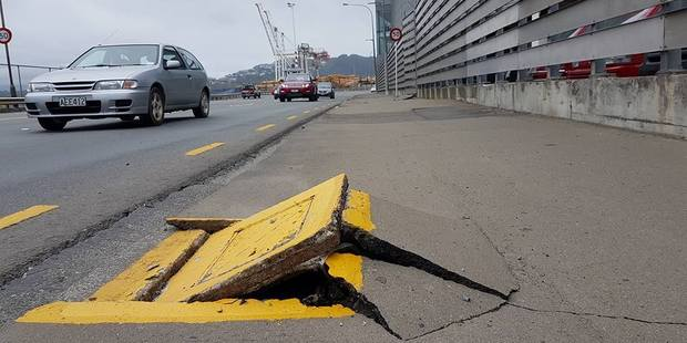 Damage to the ground outside Westpac Stadium on the Wellington seafront following a 7.5 M earthquake that struck north-Canterbury  picture / Craig Doolan