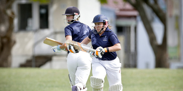 FOCUSED: Tauranga Girls Briana Perry, left, and Holly Topp batting against Tauranga Intermediate girls' in a warm-up match last week. PHOTO/ANDRW WARNER