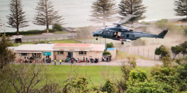 A New Zealand Air Force helicopter takes off with a load of tourists from Kaikoura. Photo / Supplied