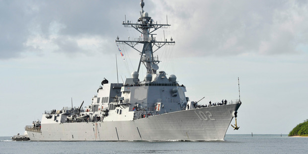 The USS Sampson has bypassed the New Zealand Navy celebrations to help in Kaikoura. Photo / File