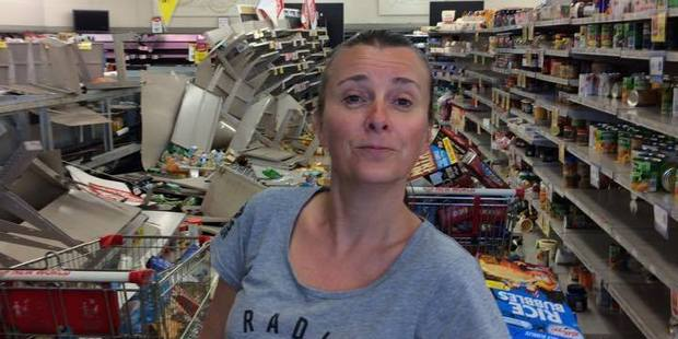RATTLED: NZME Radio sales manager Justine Knowles in a shaken supermarket in Kaikoura. PHOTO/SUPPLIED